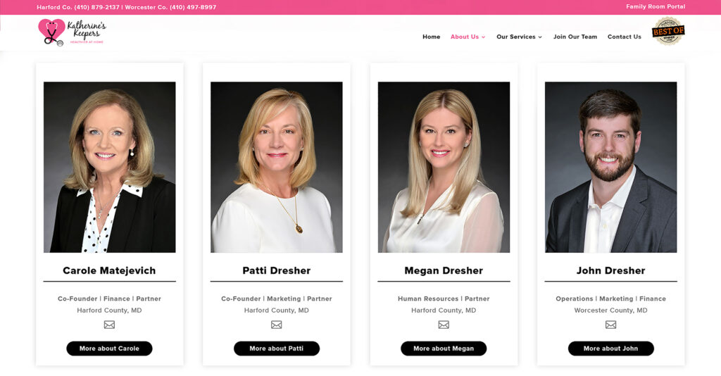 Corporate business headshots for website use
